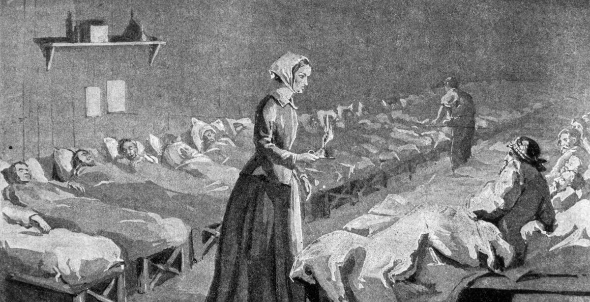 Historical drawing of Florence Nightingale treating wounded soldiers