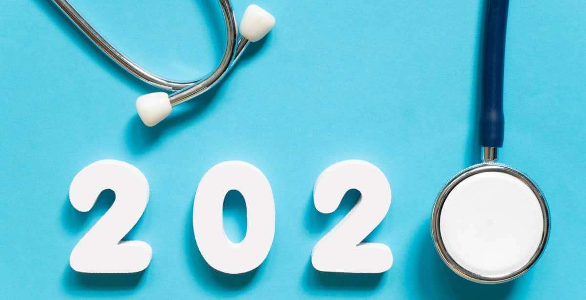 Artistic concept of 2020 with stethoscope